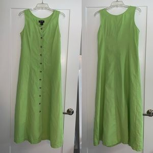 Rafaella sleeveless linen sundress, lime green, 6